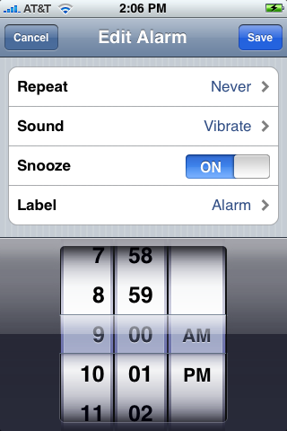 Select the Vibrate ringtone in the iPhone alarm settings page.